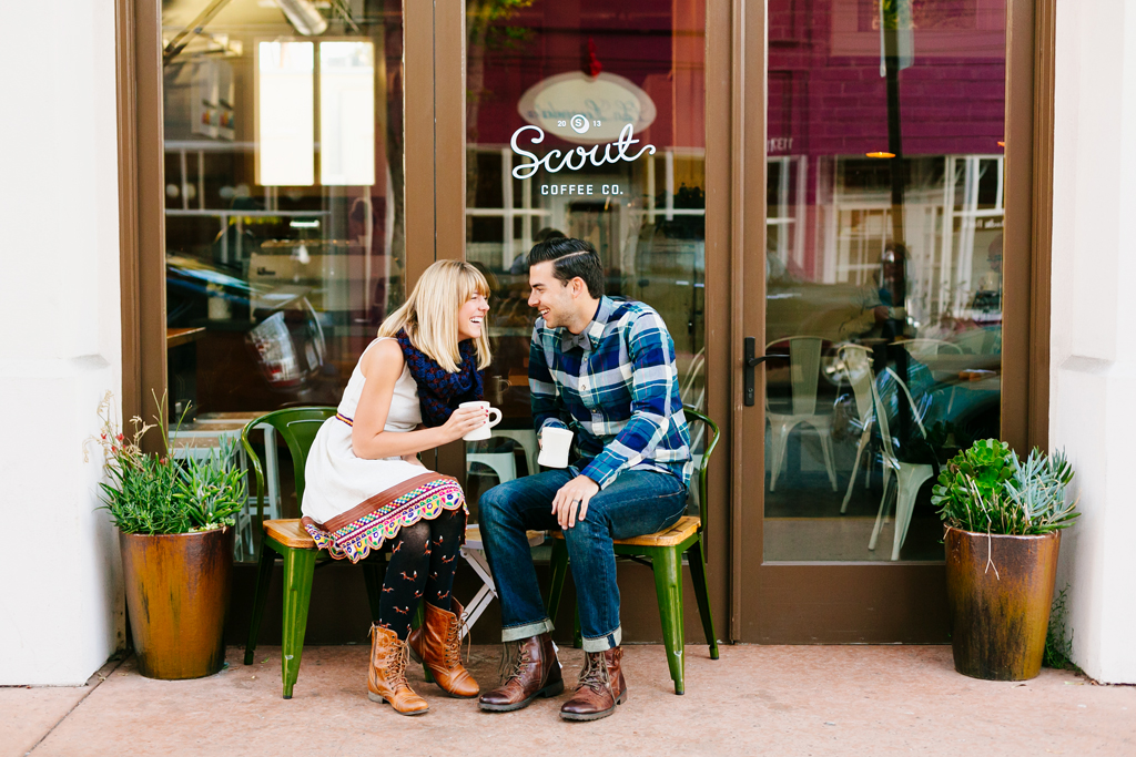 Cute couple drinking coffee at Scout Coffee in San Luis Obispo