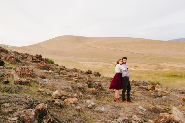 Cute couple posing together in San Luis Obispo engagement photos