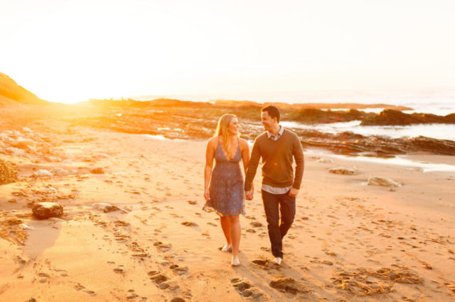 Gorgeous sunset for couple's engagement session at the beach