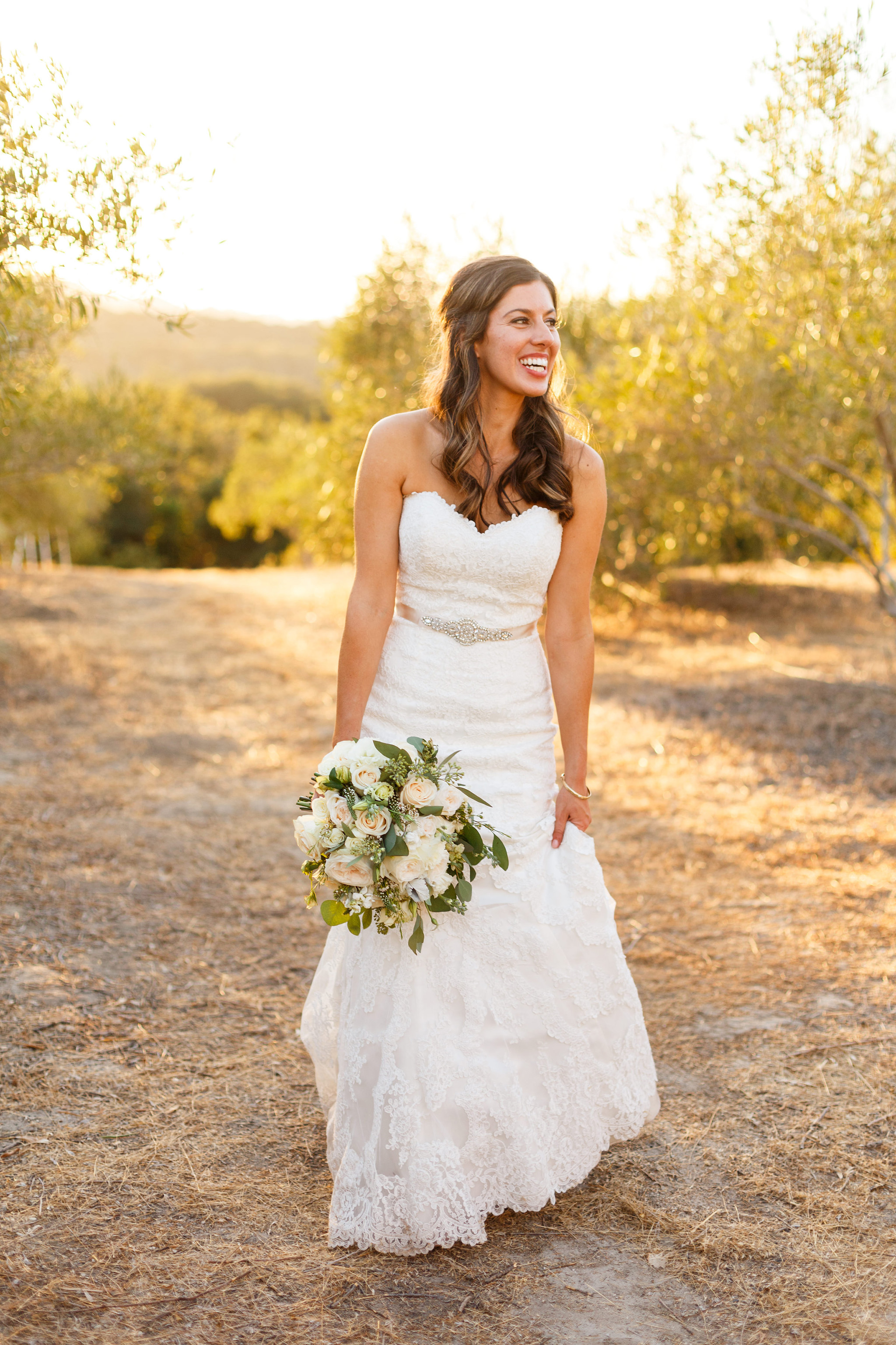 Beautiful bride in her wedding dress at Tiber Canyon Ranch