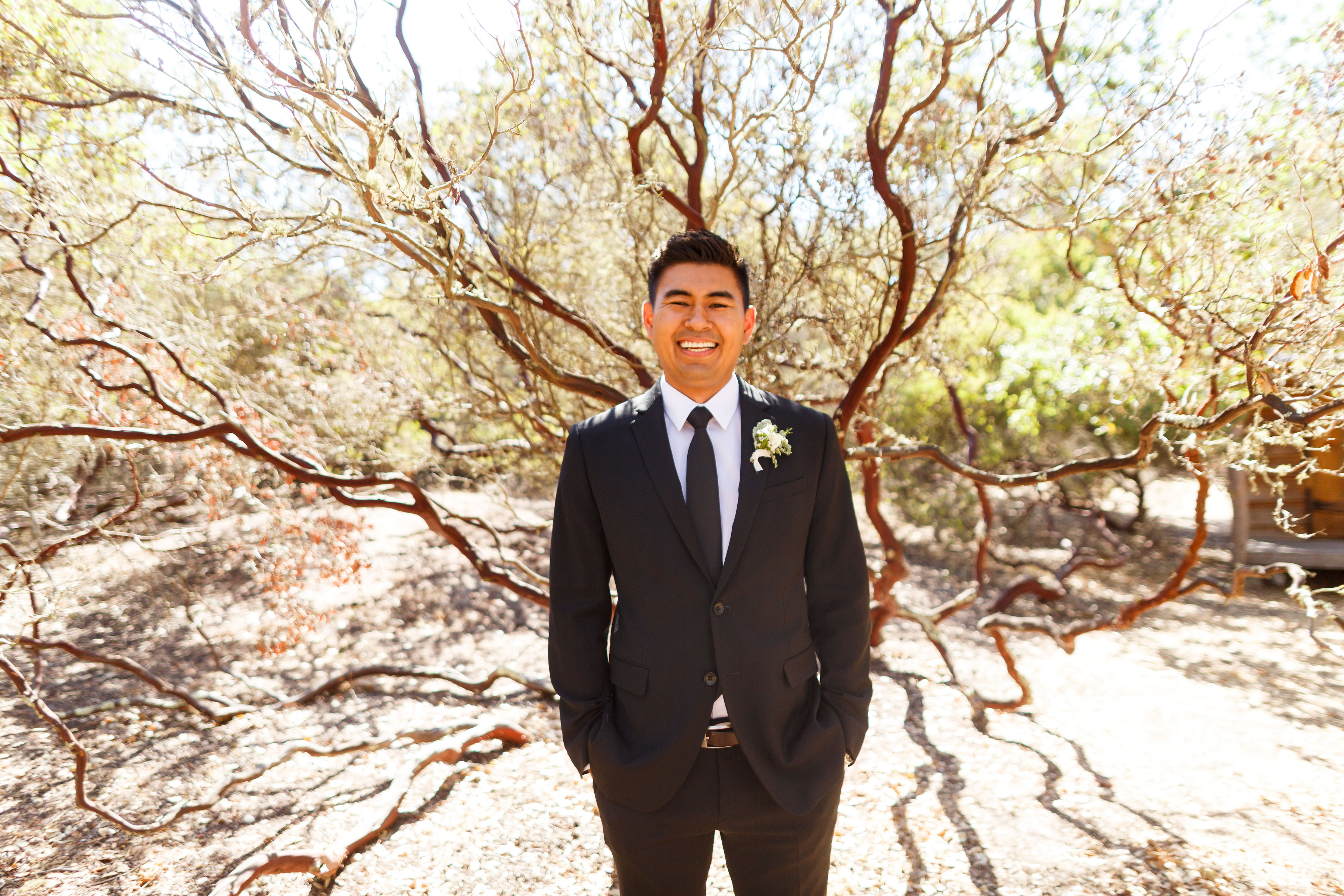 Groom looking handsome at Tiber Canyon Ranch wedding