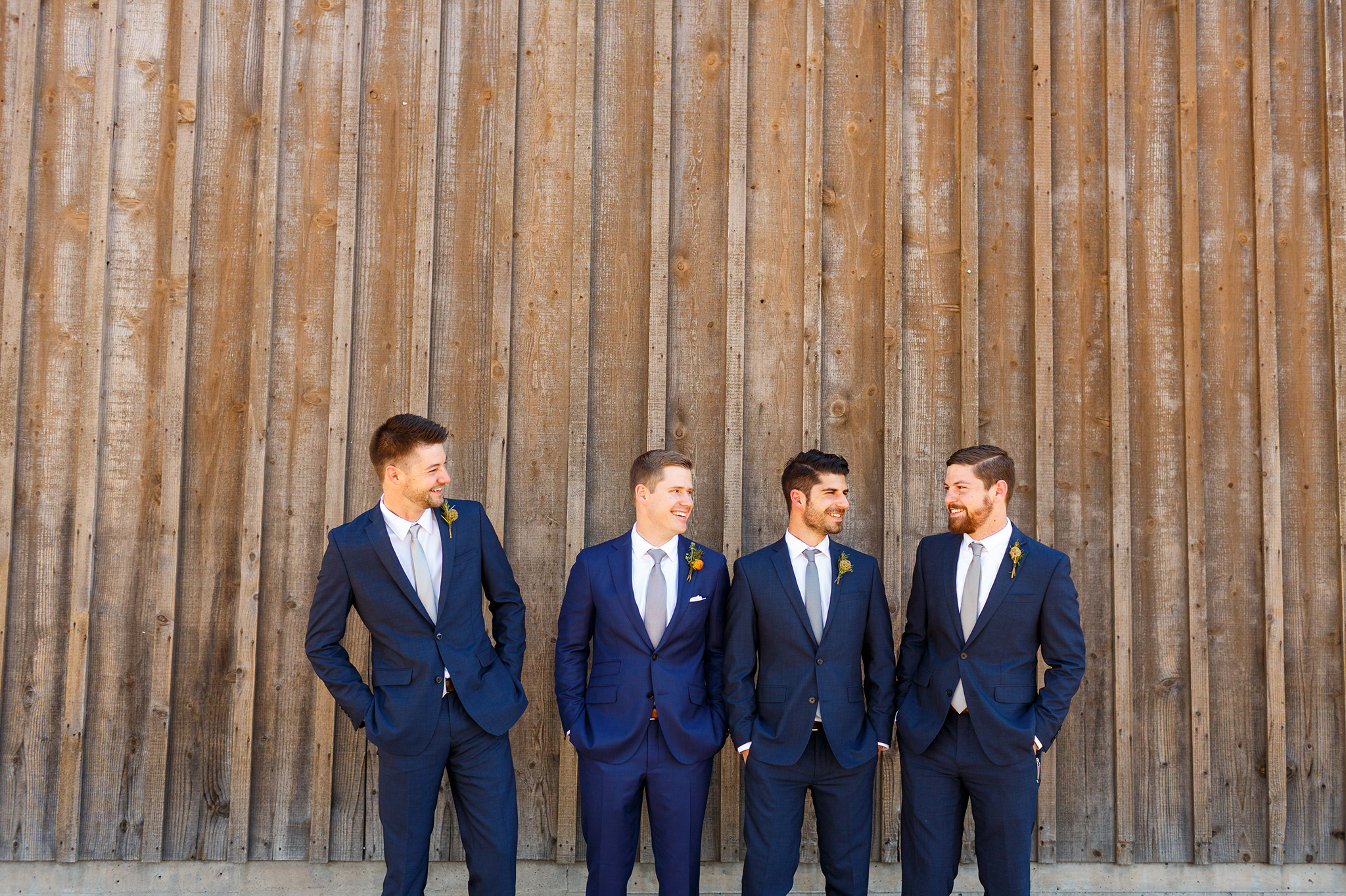 Groom and groomsmen at the barn at Thousand Hills Ranch in San Luis Obispo