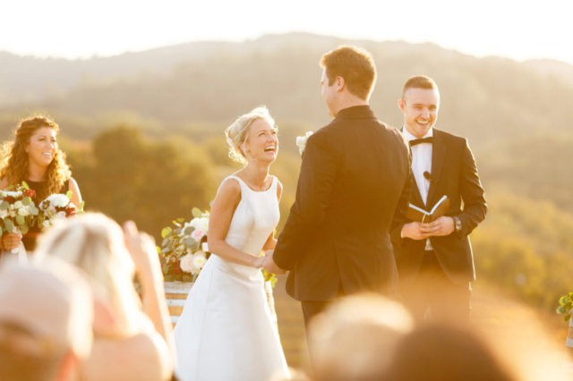 Bride and groom during their Opolo Vineyards hilltop ceremony at sunset
