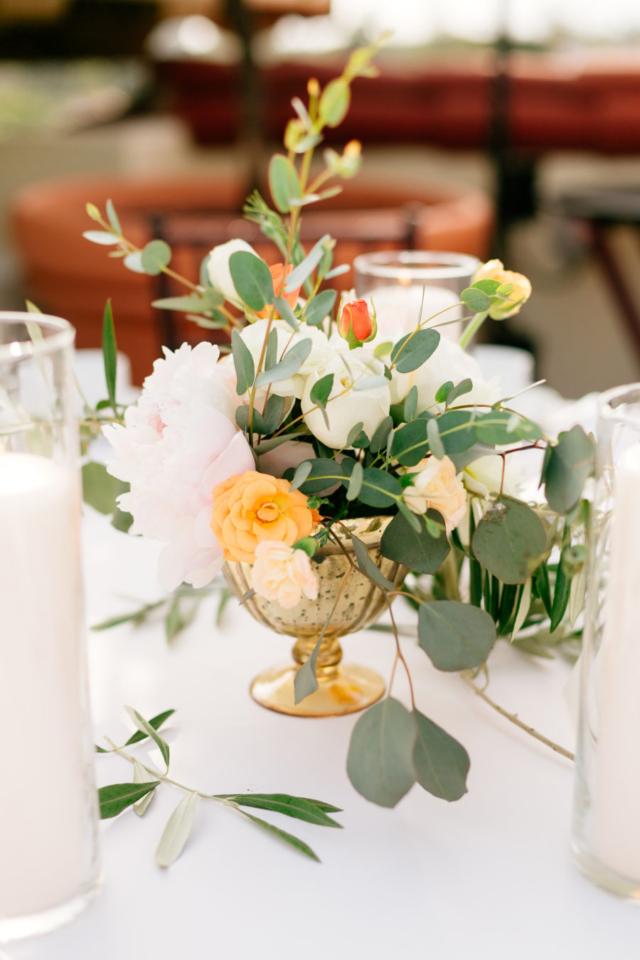 Beautiful centerpieces at Santa Barbara wedding at the Canary Hotel