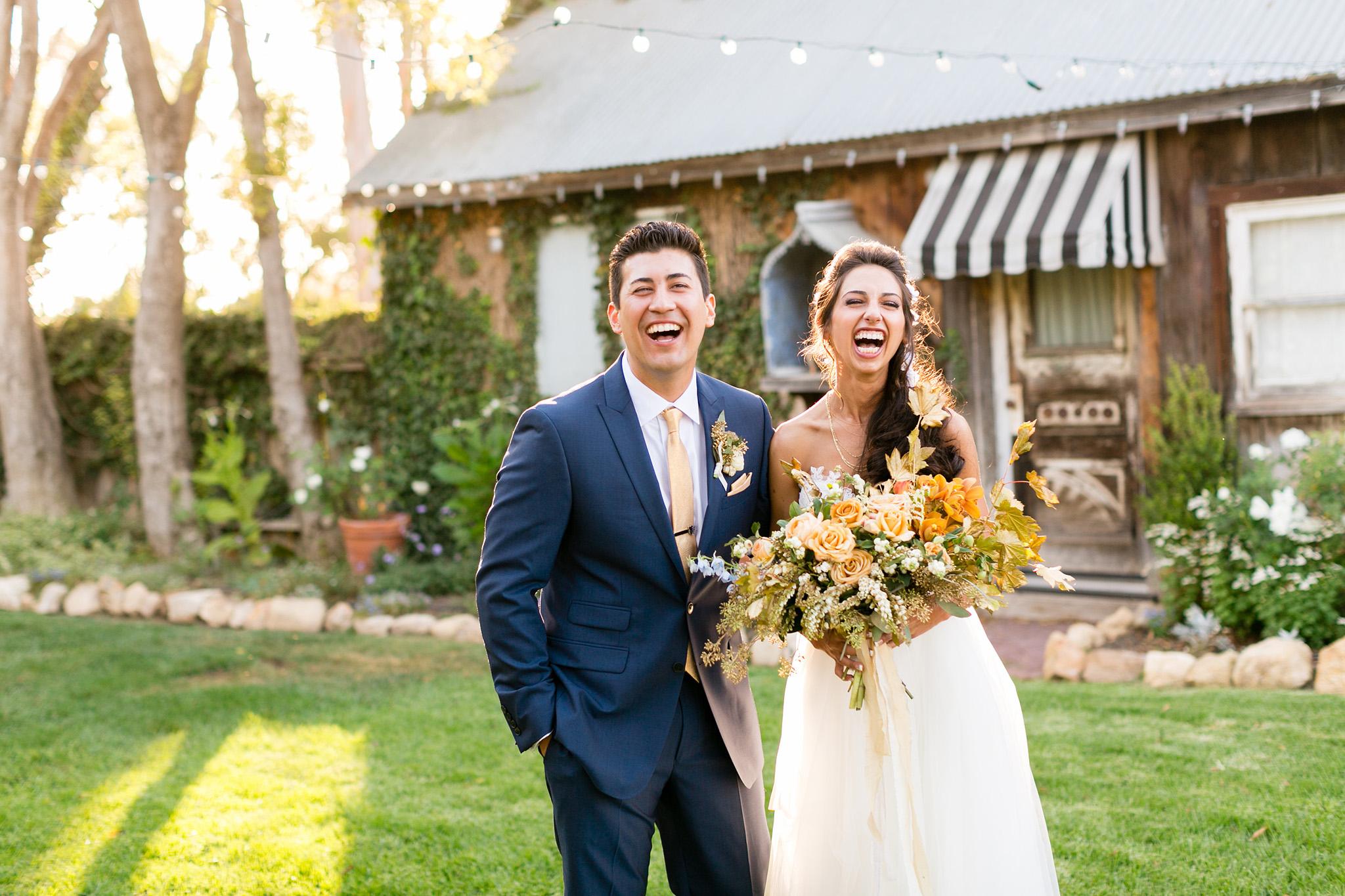 Happy bride and groom at Dana Powers House wedding in Nipomo, CA