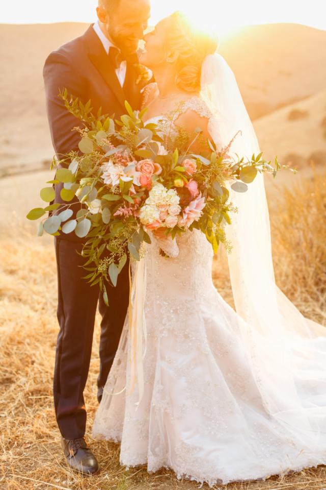 Bride and groom during sunset at La Cuesta Ranch in San Luis Obispo, CA