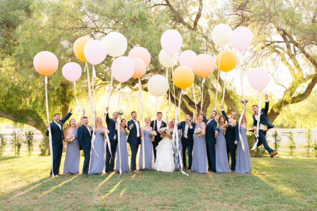 Wedding party photos with massive balloons!