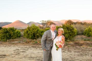 Bride and groom at sunset at Dana Powers Barn in Nipomo